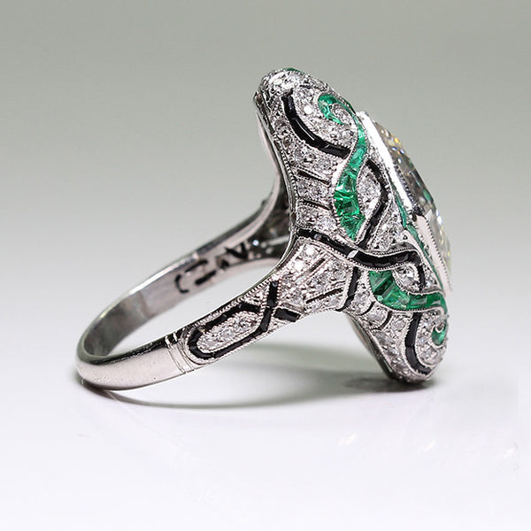 3.52ct Fancy Yellow J VVS2 GIA, European Cut Diamonds = .86, Emerald Accents = 3.00 and Onyx 8.0gr, Platinum Lady's Ring LR3654