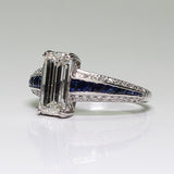 1.83ct J SI2 Emerald Cut Diamond GIA, European Cut Diamond = .17, with Sapphire Accents 4.6gr, Platinum Lady's Ring LR3655