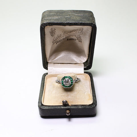 .51ct European Cut Diamond, 1.10ctw Emerald accents, .08ctw European Cut Diamond, 3.1gr, Platinum Lady's Ring LR3659