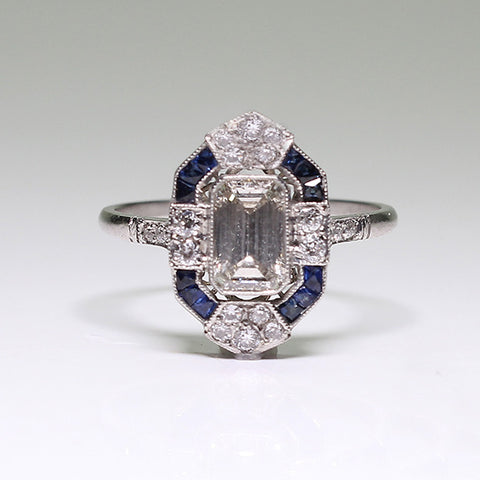 .70ct Emerald Cut Diamond, .23ctw European Cut Diamond, .24ctw Sapphire 3.3gr, Platinum Lady's Ring LR3664