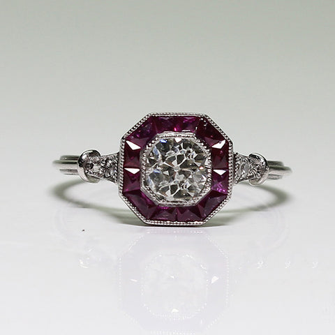 .56ct European Cut Diamond, 4 European Cut Diamonds =.08ctw, Ruby = 1.18ctw, 3.1gr, Platinum Lady's Ring LR3666