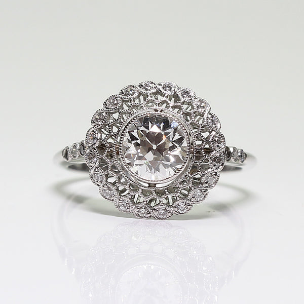 1 European Cut Diamond  = 0.91ct I VS2 GIA  and Round Diamonds  = .24ctw  4.0gr Platinum Ring LR3817