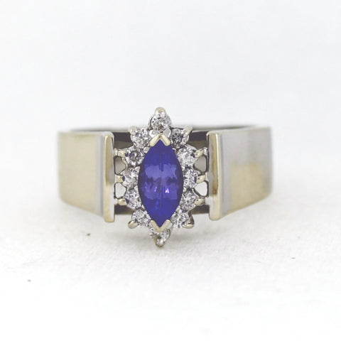 Estate  Marquise Cut Diamond Tanzanite .60ct 12 Round Brilliant Diamond  = .28ctw  6.45gr 14K White Gold Ring LR3820