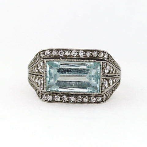 Estate 1 Emerald Cut Aqua  = 3.00ctw Round Diamond   J.E. Caldwell 5.2gr Platinum Ring LR3855