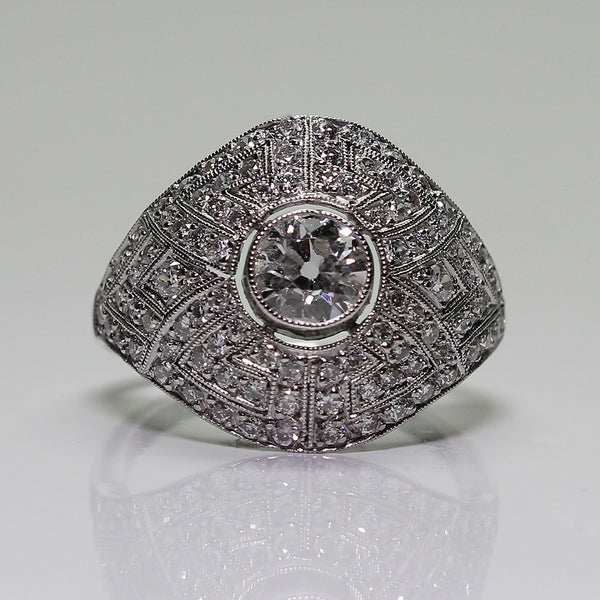 1 European Cut Diamond  = .55  and Round Diamonds  = .85ctw  4.8gr Platinum Ring LR3882