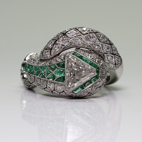 1 I SI2 Shield Cut Diamond GIA  = 0.82ct  and Round Diamonds  = 1.20ctw  Accent Emeralds 9.8gr Platinum Ring LR3889