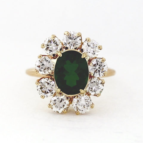 9 Brilliant Diamonds = 2.25ctw 1 Oval Green Tourmaline 2.01ct 4.5gr 14K Yellow Gold Ring LR3942