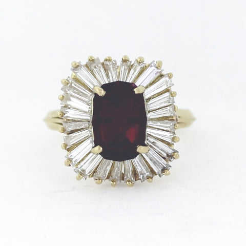 Estate 2.56 Ruby Red Tourmaline & 3.00ctw Tapered Baguettes 7.8gr 18K Yellow Gold Ring LR3988