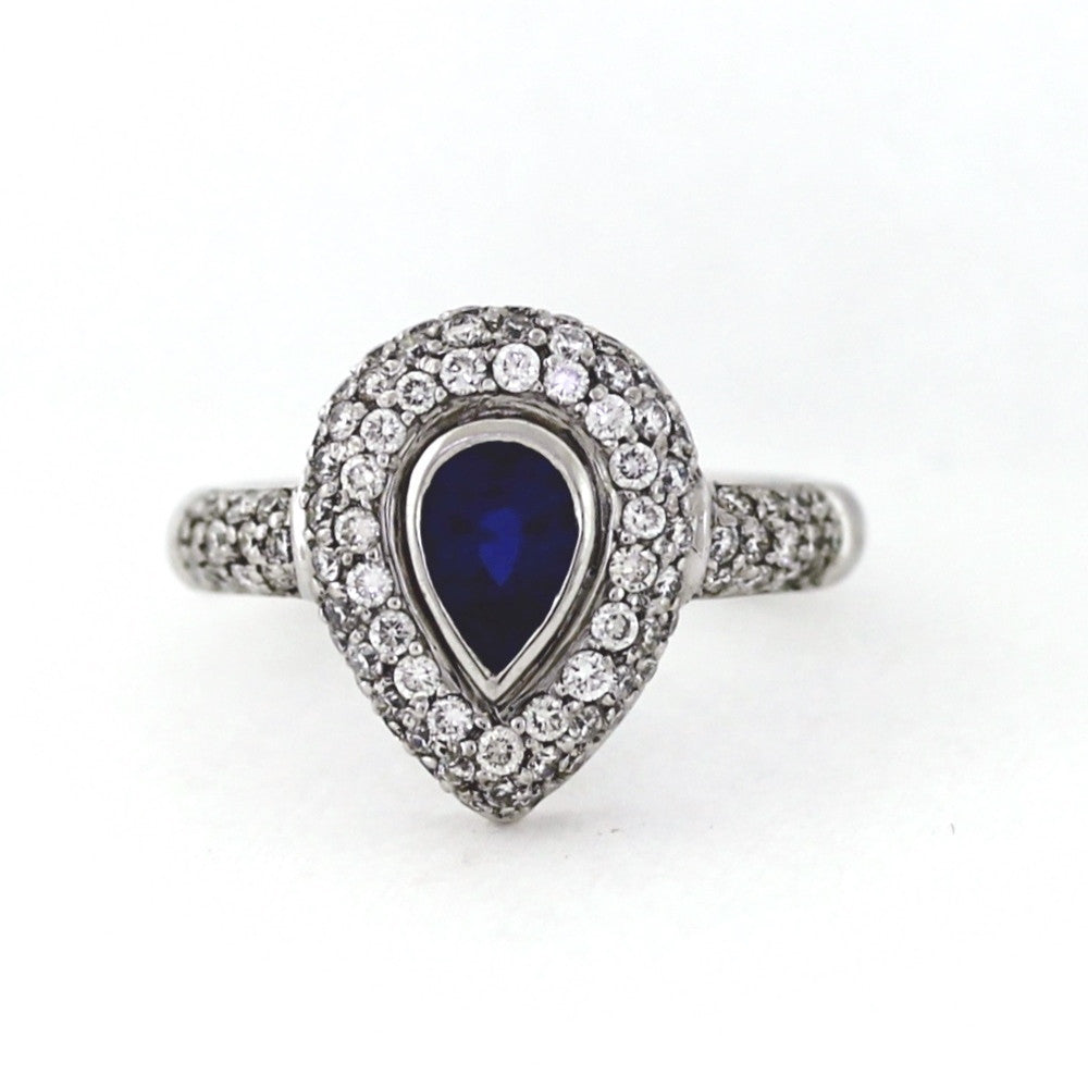 p pear white classic shaped gold sapphire in ring engagement