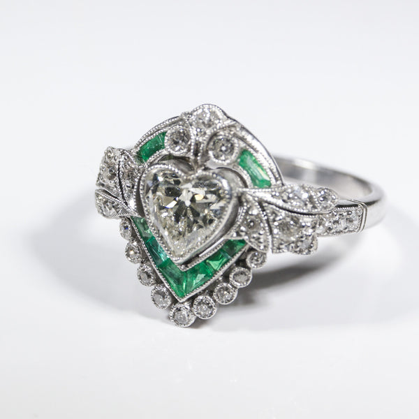 1 Heart Shaped Diamond = 0.84 ct K SI1 Emerald & Diamond Accents 6.0gr Platinum Lady's Ring LR4093