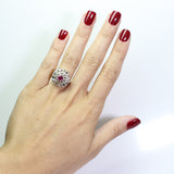 1 Ruby = .50 ct with Rose Cut Diamonds = 1.00 ctw 6.2gr 18K Gold & Platinum Lady's Ring LR4094