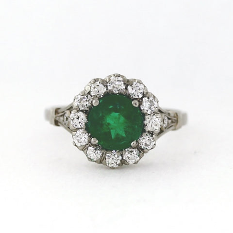 1 Emerald = 1.50 ct European Cut Diamond = 1.00 ctw 4.2gr Platinum Lady's Ring LR4104