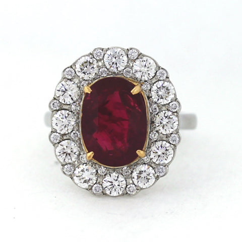 5.02 Burma Ruby No heat with Round Diamonds = 2.00 ctw 12.9gr Platinum Lady's Ring LR4126