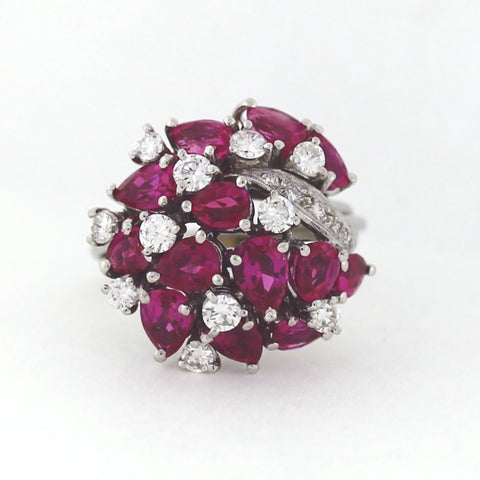 Estate 13 Burma Ruby = 6.00 ctw Round Diamonds = 1.00 ctw 14.0gr Weights Approx. 14K Gold & Platinum Lady's Ring LR4129