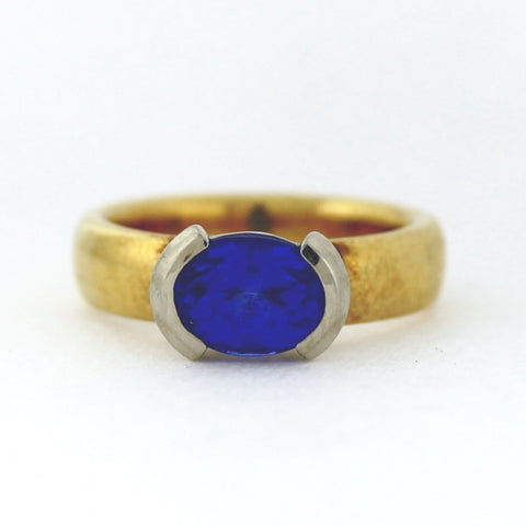 Estate 2.63 Oval Cut Diamond and Tanzanite 10.0gr HALLMARK AJ 18K Two Tone Gold Lady's Ring LR4135