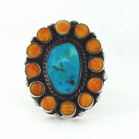 Estate Turquoise & Spiny Oyster ring 12.3gr Hallmark S Sterling Silver Lady's Ring LR4137