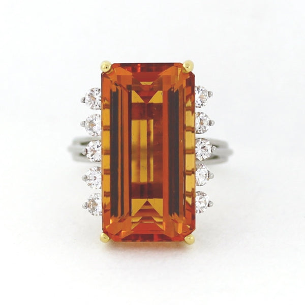 Estate Tiffany & Co. E/C Topaz Approx 20. ct 10 Round Diamond = 1.00 ctw 13.0gr 18K Gold & Platinum Lady's Ring LR4147