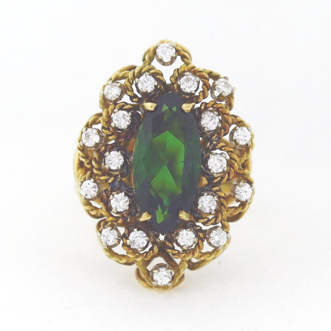 Marquise Cut Green Tourmaline approx 3.00 ct 20 Round Diamonds = .50 ctw 7.8gr 14K Yellow Gold Lady's Ring LR4162