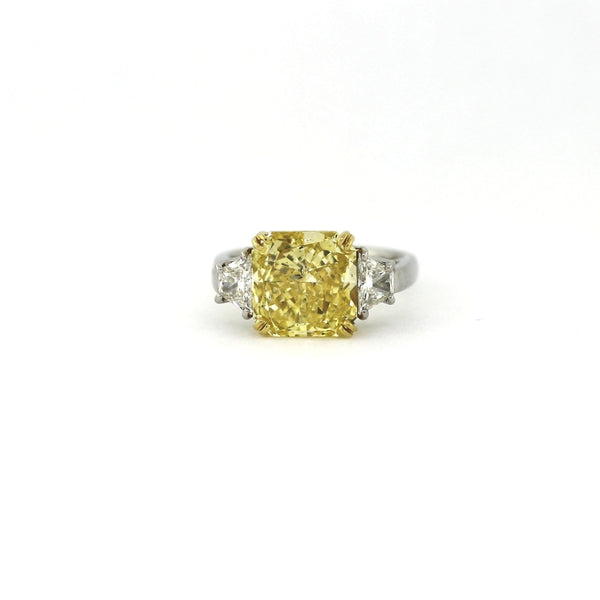 2 Trapezoids = 0.75 ct G VS2, 5.16 ct Radiant Cut Diamond Fancy Yellow Intense Platinum and 18K Gold Ring GIA # 1122012086 FCX0035 LRX0029