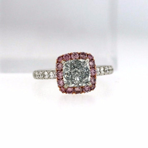 1.68 ct Fancy Light Blue SI2 Cushion Cut Diamond, 12 Round Brilliant Cut Diamonds = .30, 16 Fancy Pink Diamonds = .48, Platinum Ring GIA # 2146759289 FCX0036