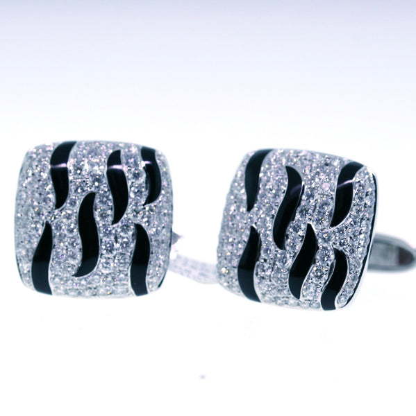 176 Round Brilliant = 2.75ctw Diamond & Enamel 18K White Gold Cufflinks MISC0199