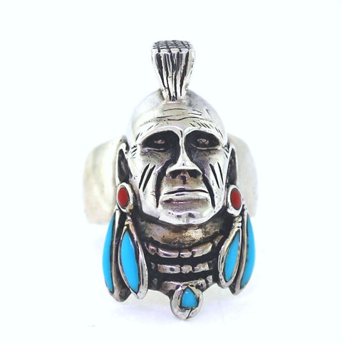 Estate INDIAN HEAD MOHAWK SCALP LOCK Turquoise & Coral Sterling Silver MN0081