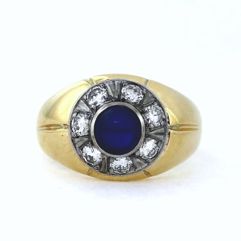 Estate 7 Round Brilliant = 1.00ctw 2.20 Round Cabochon Sapphire Blue 10.3gr Two Tone 14K Gold Band MN0103