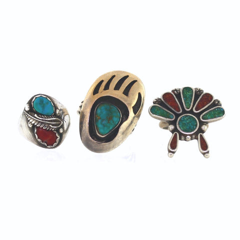 Estate 3 Assorted rings Turquoise & Coral 1 Bear Claw, Sterling Silver MSC0185