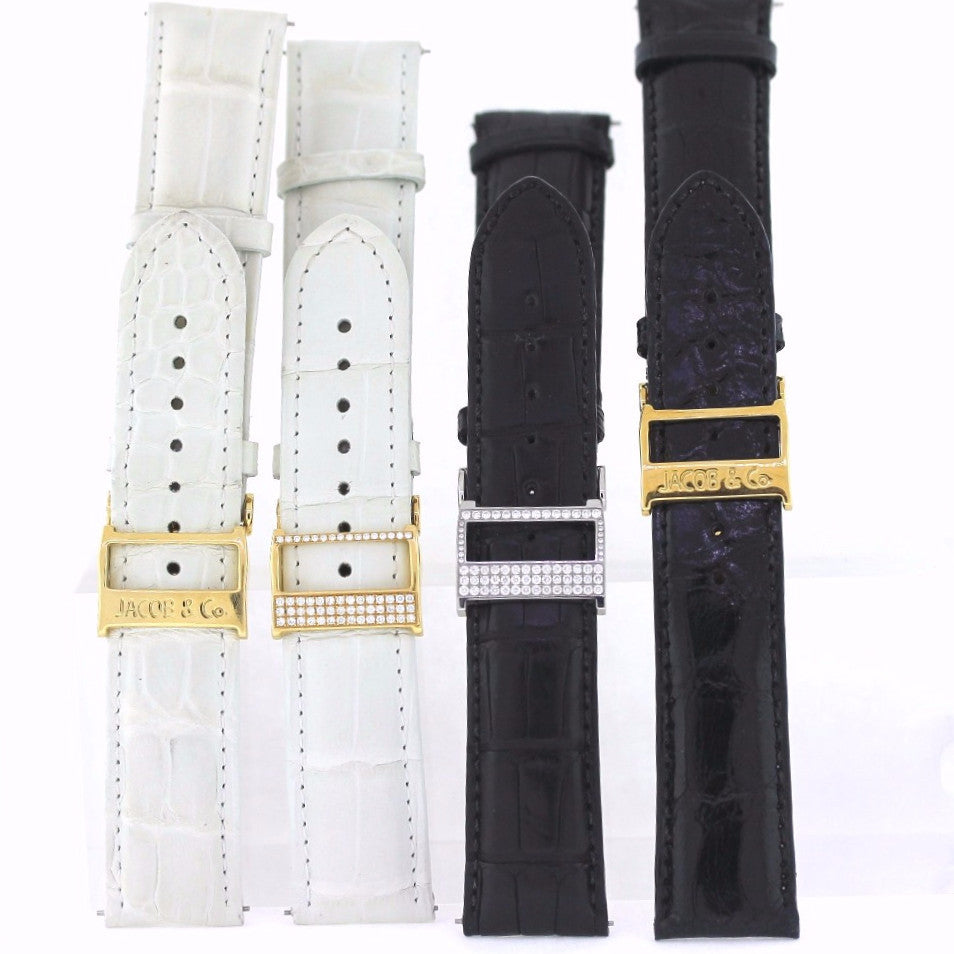 Estate 4 Jacob & Co. Straps Deployant buckles 2 white 2 Black 2 Diamond Lot only Stainless Steel & 18K Gold MSC0220