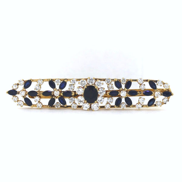 Estate 41 Round Brilliant = 4.95 21 Sapphire = 6.00 20.8gr Hair Clip 14K Yellow Gold MSC0227
