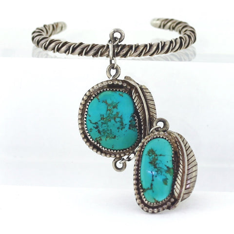 Estate 2 Piece Turquoise Ring Bracelet set 56.8gr Sterling Silver MSC0277