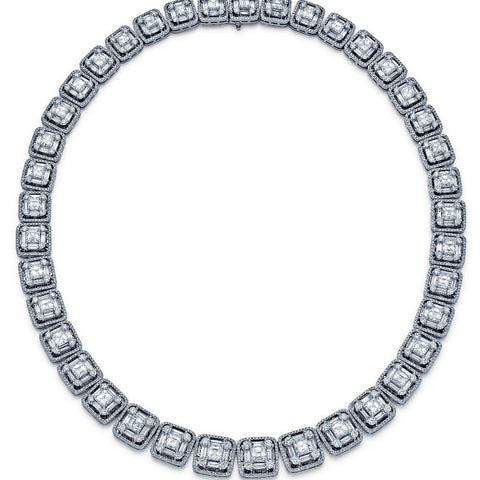 37.54ctw 91.20gr Asscher Cut 18K White Gold Necklace NK1374