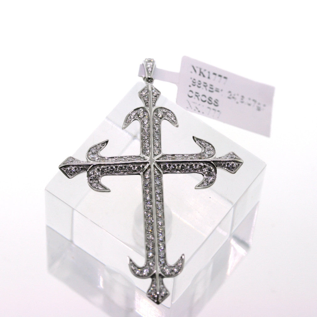98 Round Brilliant = 1.24 6.07gr Cross w/ Chain 18K White Gold Necklace NK1777