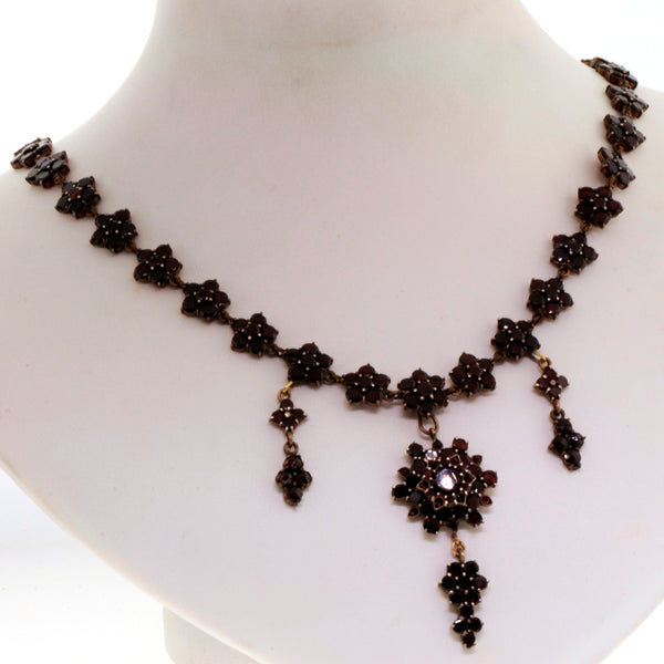 Estate Antique Garnet Necklace & *Bracelet Sterling Silver NK1836