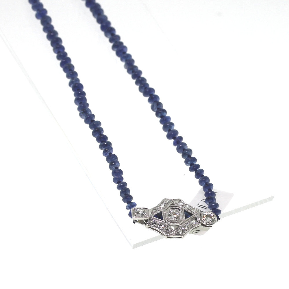 Estate 90.74ctw Sapphire Strand Antique Clasp 1.00ctw 14K White Gold Necklace NK1865
