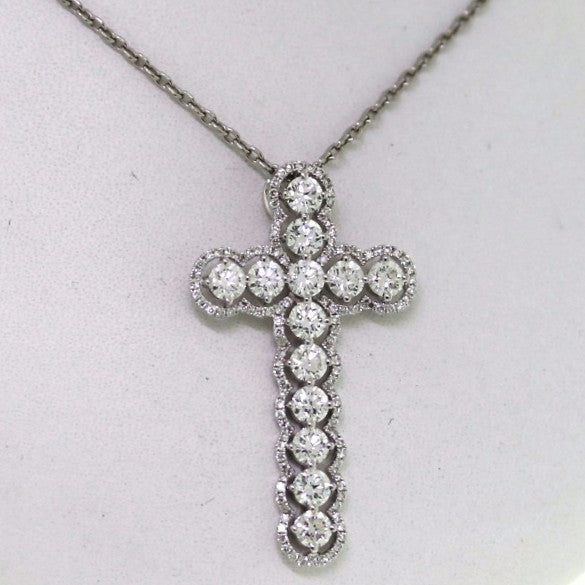 13 Round Brilliant = 1.89 116 Round Brilliant = .35 2.73gr Cross 18K White Gold Necklace NK1875