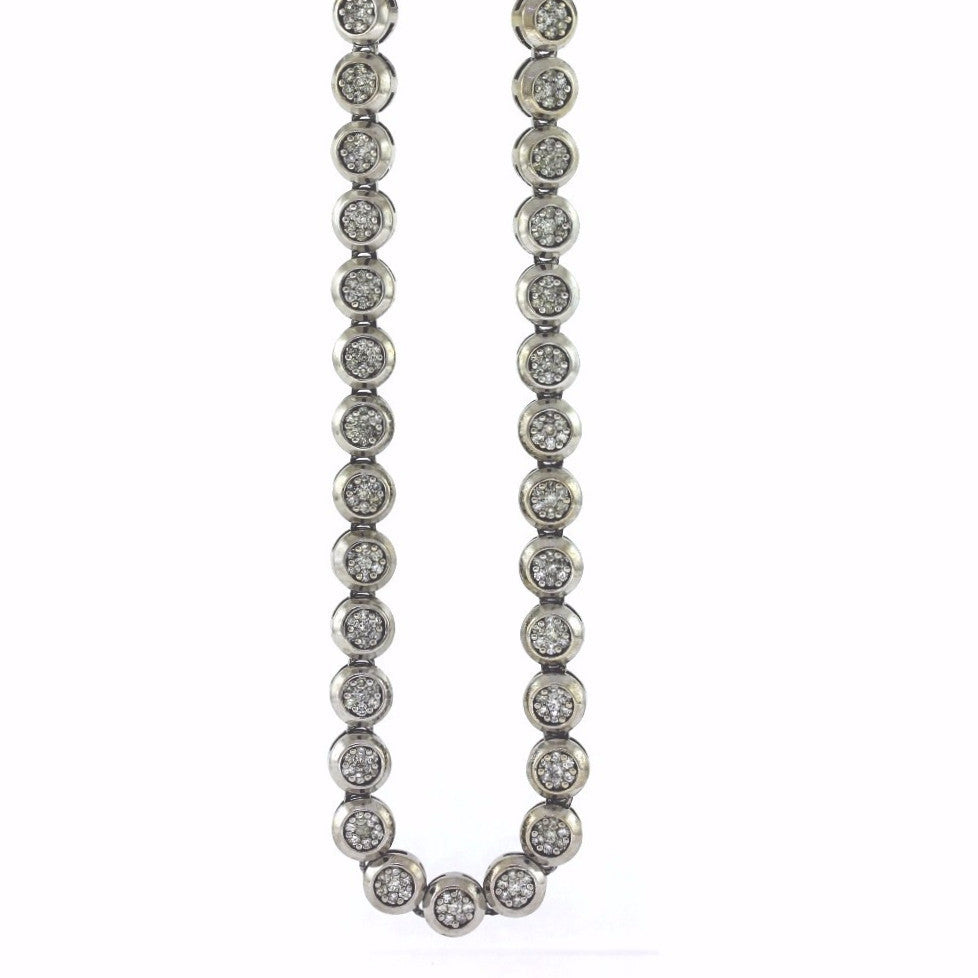 Estate 796 Round Brilliant = 7.00cts 166.7gr Stamped KC Chain & Cross 14K White Gold Necklace NK1975