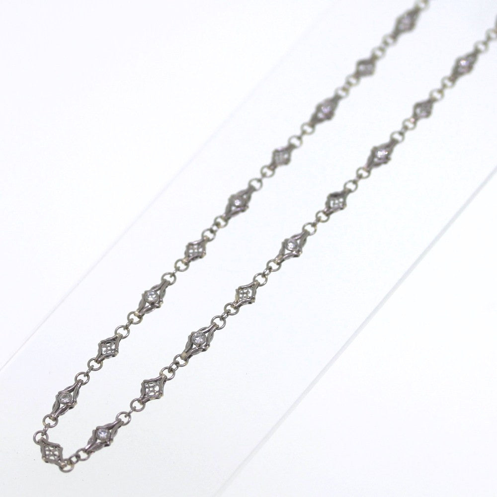 "16 Round Brilliant = .84ctw 18"" 18K White Gold Necklace NK2020"