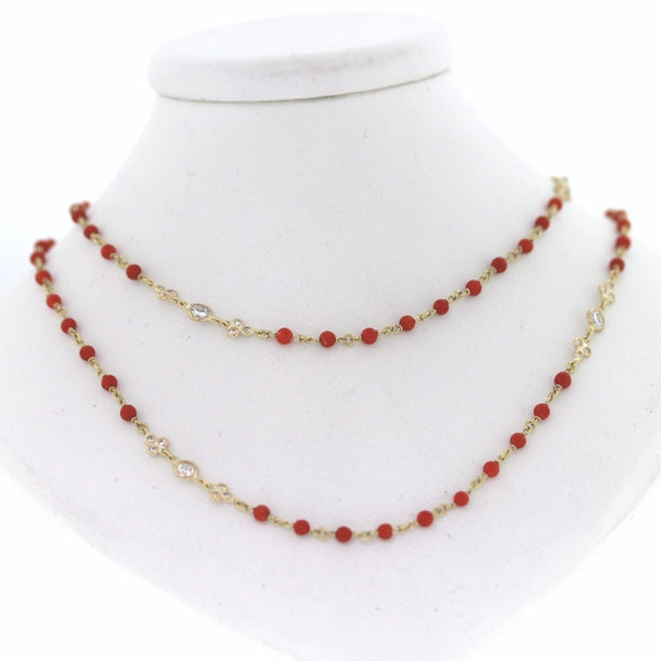 "9 Round Brilliant = 1.64 54 Round Brilliant = .86 100 Coral 13.50cts 36"" 18K Yellow Gold Necklace NK2040"