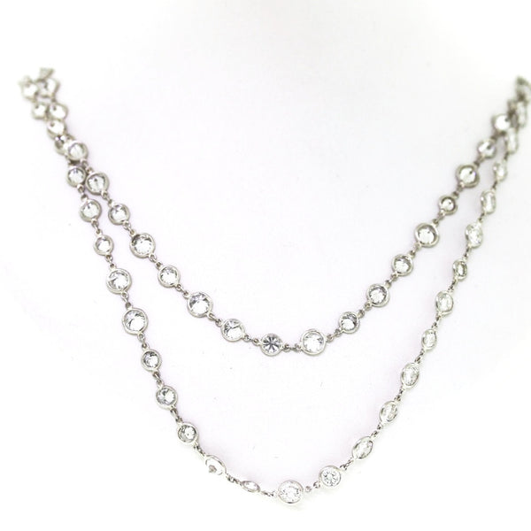 "93 Round Brilliant = 21.31ct H SI 30"" Diamonds by the Yard Platinum Necklace NK2072"