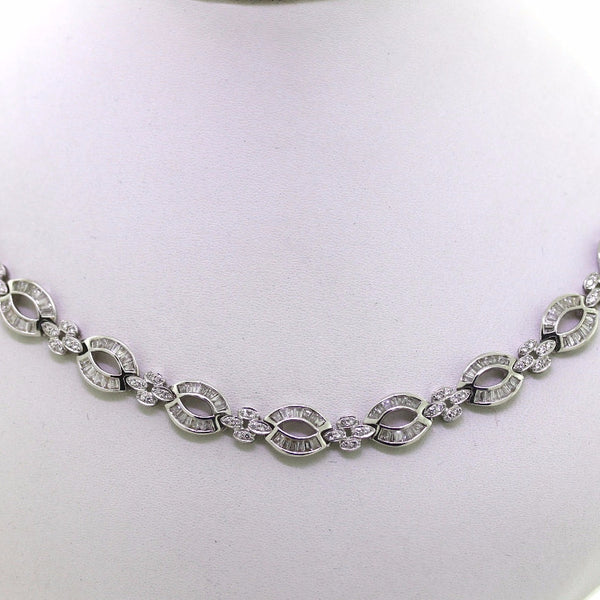 Estate 3.00ctw Baguette & Round Brilliant Approx. Weight 18K White Gold Necklace NK2100