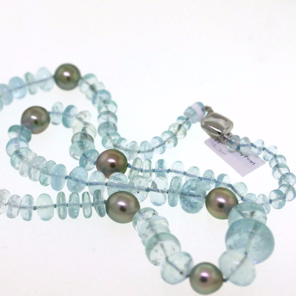 "Aqua & Gray Pearl 23"" 14K White Gold Necklace NK2103"