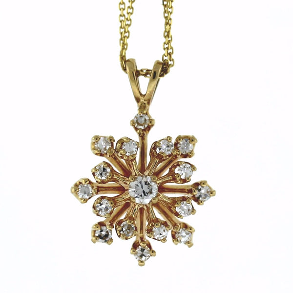"Estate 17 = .35cts Snow Flake design 16"" Chain 2.9gr 10K Yellow Gold Necklace NK2113"