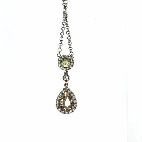 6bd74ced1dc35 Estate Diamonds by the Yard w  Dangle 6.6gr 18K White Gold Necklace NK2206