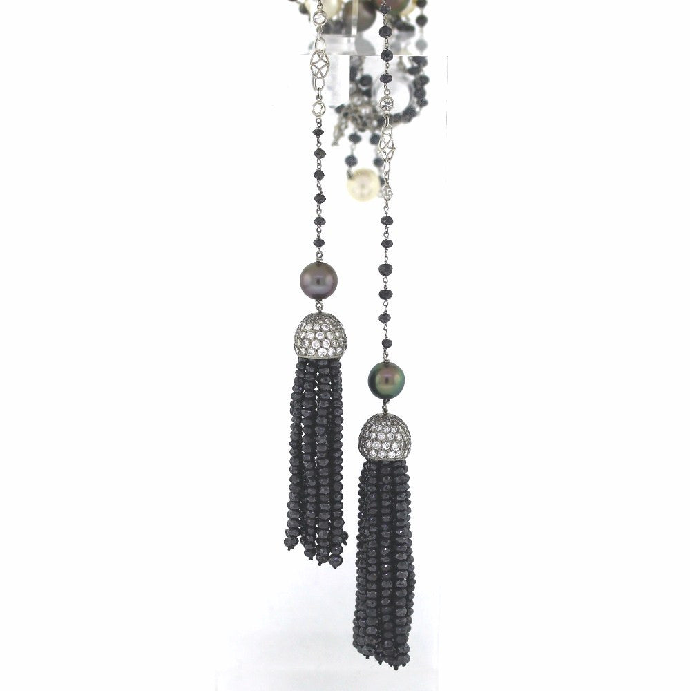 "Black = 81.65 White = 6.62 Tassel 60"" Pearls 8 Black 8 White Platinum Necklace NK2258"