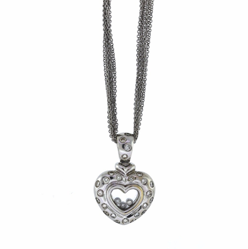 Estate .76ctw Floating Diamond Heart 22.8gr 18K White Gold Necklace NK2279