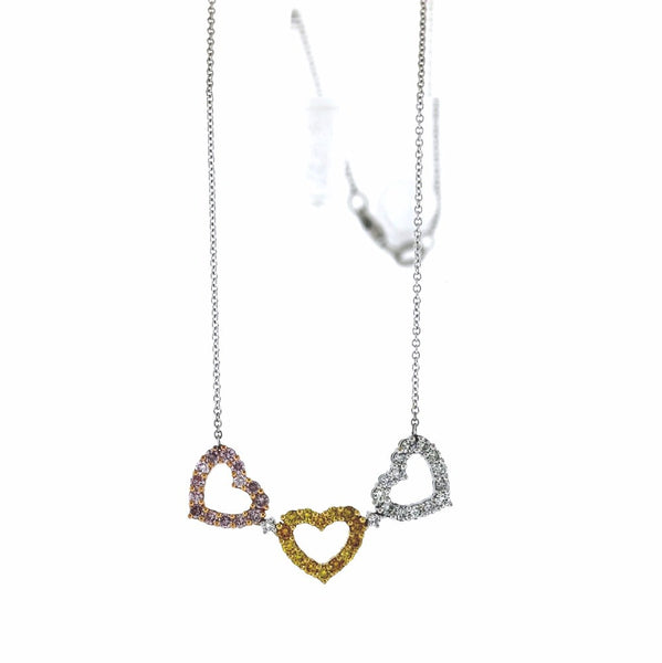 "44 Round Brilliant = 1.41ctw Hearts, Pink, Yellow, White 16"" Chain Three Tone 18K Gold Necklace NK2290"