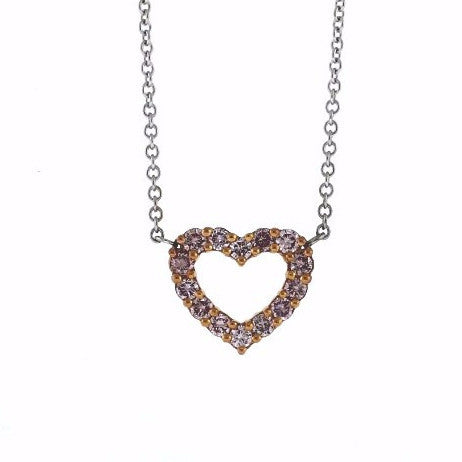 "14 Fancy Pink = .45ctw 16"" Chain Heart Two Tone 18K Gold Necklace NK2291"