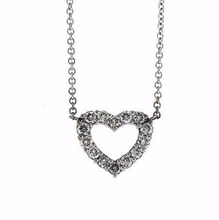 "14 Round Brilliant = .45ctw 16"" Chain Heart 18K White Gold Necklace NK2295"