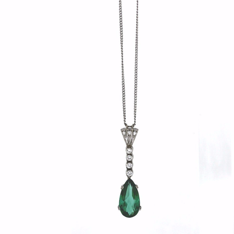 "Estate 7 Round Brilliant = .25 Pear Shape Tourmaline = 4.30 20"" Chain 6.15gr 14K White Gold Necklace NK2297"